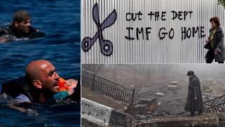 Composite image showing migrants in Greece, Greek financial crisis, Ukraine ruins - December 2015