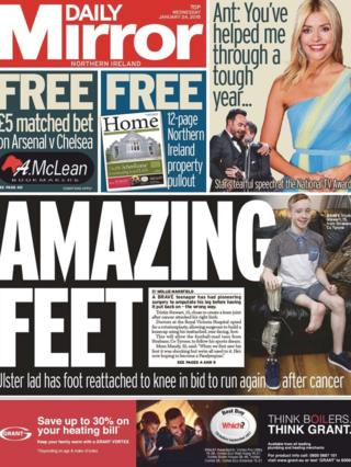 Daily Mirror front page Wednesday 24 January