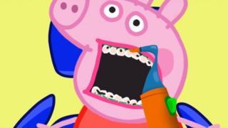 Reprodução de vídeo do YouTube com imagem falsa da Peppa Pig no dentista