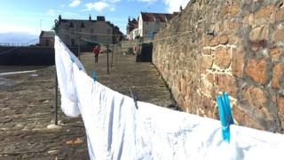 Washing dries at Cellardyke Harbour, Anstruther