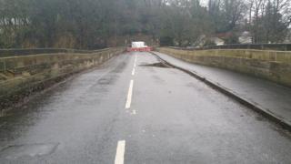 The damaged Linton bridge