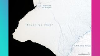 Map showing the ice shelf at the start of 2019.