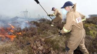 Firefighters attending a gorse fire