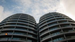 Bezier facade, from below