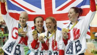 Joanna Rowsell Shand, Elinor Barker, Laura Trott and Katie Archibald celebrate during the medal ceremony for the women's team pursuit