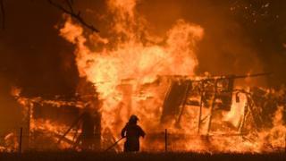 firefighter at gosper fire, 21/12