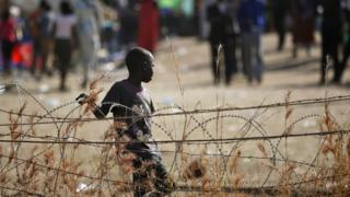 File picture of a displaced child in South Sudan