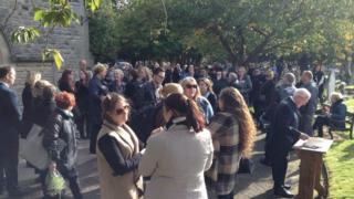 Dozens of mourners gathered to pay their respects at Wolvercote Cemetery