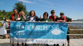 Dundrum Coastal Rowing club , who have won the overall trophy at Skiffie World Championship, were pictured winning the gold medal on Friday