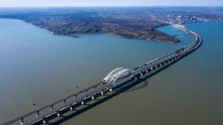 MARCH 13, 2019: An aerial view of Kerch Strait Bridge under construction, the future road-rail bridge of 19 km [11.8 miles] in length meant to link Crimea's Kerch Peninsula to mainland Russia over Tuzla Spit.