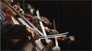 String players in an orchestra