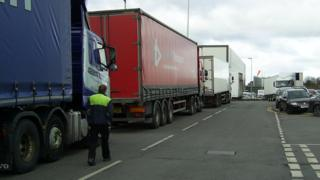 Lorries queuing outside the depot