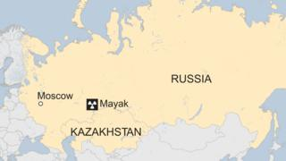 Map highlighting Russia and Kazakhstan, with location of the Mayak nuclear facility