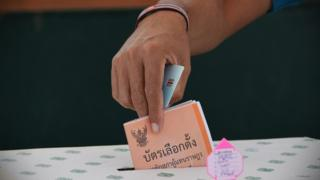 Close up of a Thai man's hand, casting his vote