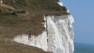 A crack in the cliff at Seaford Head