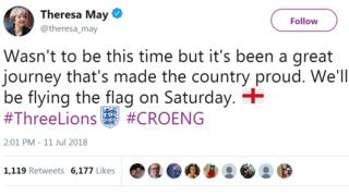 A tweet from Theresa May