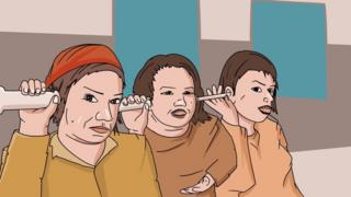 Three women listen with implements in their ears