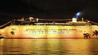 The cruise ship Pacific Dawn during its launch in Sydney in 2008