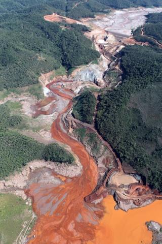 Região afetada pelo rompimento da barragem de Fundão, me Mariana