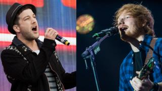 Matt Cardle (left) Ed Sheeran (right)