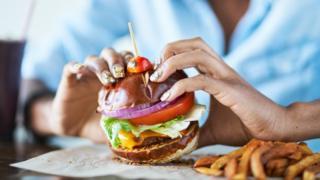 Close up of vegan burger