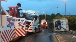The lorry cab righted