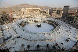 An aerial view taken on 5 March shows the white-tiled area surrounding the Kaaba, inside Mecca's Grand Mosque, empty of worshippers.