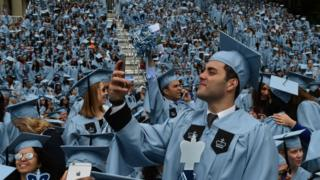 Graduating students arrive for the Columbia University 2016 Commencement ceremony in New York May 18, 2016.
