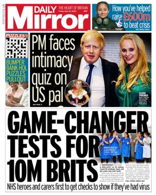 The Daily Mirror front page 22/05/20