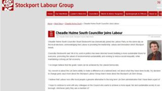 Stockport Labour Group post about the defection
