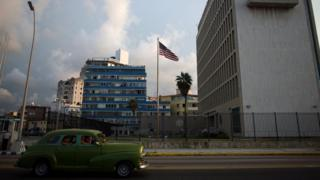 vintage car drives past US embassy with US flag (file pic)