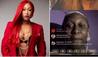 Many Twitter NG users dey use Cynthia Morgan Instagram Live compare wen di 29 year old singer bin dey hot.