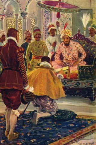 1608వ సంవత్సరంలో మొఘల్ చక్రవర్తి జహంగీర్కు ఇంగ్లండ్ రాజు జేమ్స్ 1 తరపున లేఖ అందజేస్తున్న కెప్టెన్ విలియం హాకిన్స్