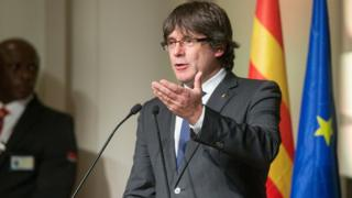Carles Puigdemont speaking in Brussels, 7 Nov 17