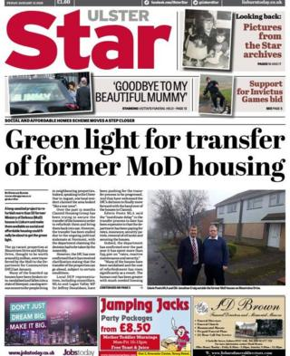 front page of Ulster Satr Friday 12 January 2018