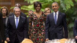 Michelle Obama, Barack Obama and Raul Castro
