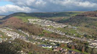 A view of New Tredegar in the valley
