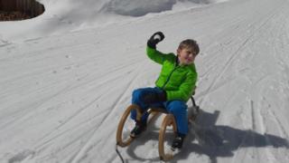 Fred on a sledge