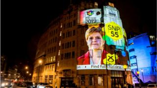 Exit poll results projected on to Broadcasting House