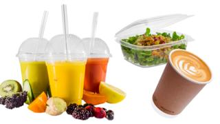A few Vegware products which look like plastic but are made of plants