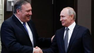 Орусия президенти Путин менен АКШнын мамлекеттик катчысы Майк Помпео
