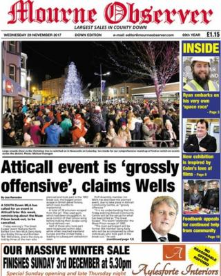 Front page of the Mourne Observer