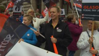 Women protested outside Glasgow City Chambers over the collapsed talks