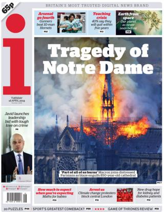 The i front page on 16 April 2019
