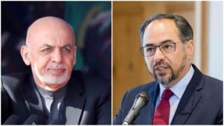 اشرف غنی، رئیس جمهوری افغانستان (چپ) و صلاح الدین ربانی، رهبر حزب جمعیت