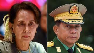 Aung San Suu Kyi (L) and Myanmar military chief Senior General Min Aung Hlaing