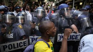 South African police scuffle with students from the African National Congress (ANC) in Cape Town, South Africa - Thursday 9 February 2017