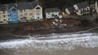 Damaged line at Dawlish