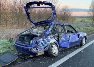 Car after being hit by a lorry