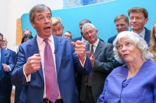Nigel Farage and Ann Widdecombe speak in at a press conference in Westminster